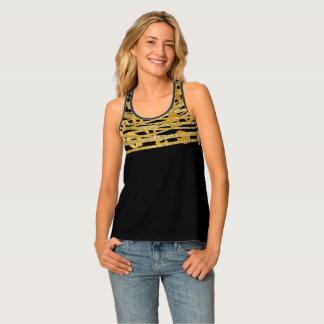 Golden Gold Black Leopard Cheetah Print Glam Tank Top