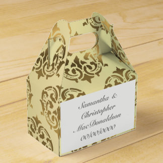 Golden gold damask pattern wedding favor box