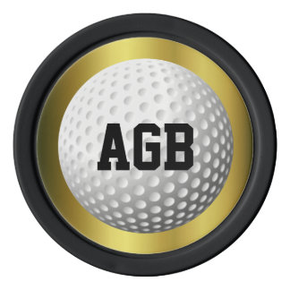 Golden Golf ball spotter/reminder Poker Chips