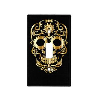 Golden Gothic Swirl Sugarskull template design. Light Switch Cover
