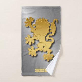 Golden Gradient Embossed Heraldic Lion With Shadow Bath Towel Set