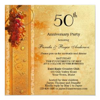 Golden Grapes Vintage Anniversary Invitation