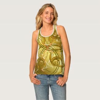 golden, green and black shiny festive colored old tank top