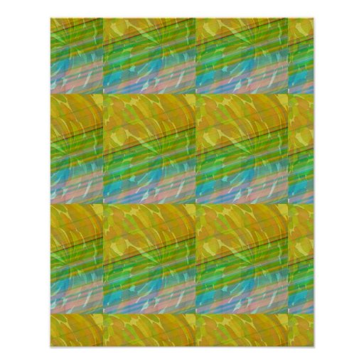 Golden Green Artistic Wave Spectrum Graphic GIFTS Poster