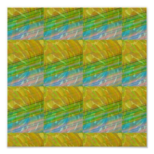 Golden Green Artistic Wave Spectrum Graphic GIFTS Posters