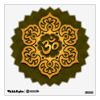 Golden Green Floral Om Wall Decal
