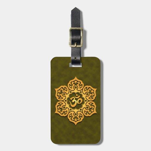 Golden Green Lotus Flower Om Bag Tags
