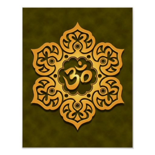 Golden Green Lotus Flower Om Print