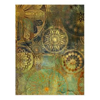 Golden green postcard