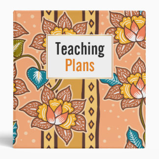 Golden Hand drawn decorative floral batik pattern 3 Ring Binder