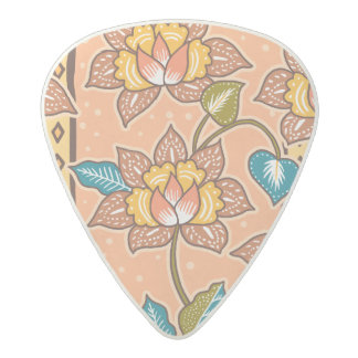 Golden Hand drawn decorative floral batik pattern Acetal Guitar Pick