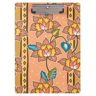Golden Hand drawn decorative floral batik pattern Clipboard