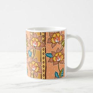 Golden Hand drawn decorative floral batik pattern Coffee Mug