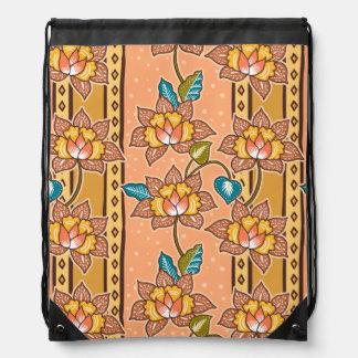 Golden Hand drawn decorative floral batik pattern Drawstring Bag