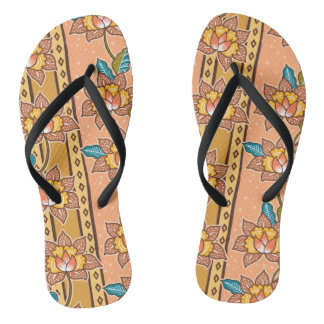 Golden Hand drawn decorative floral batik pattern Flip Flops
