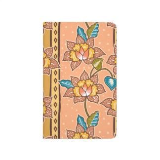 Golden Hand drawn decorative floral batik pattern Journal