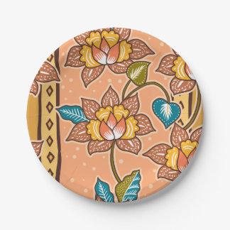 Golden Hand drawn decorative floral batik pattern Paper Plate