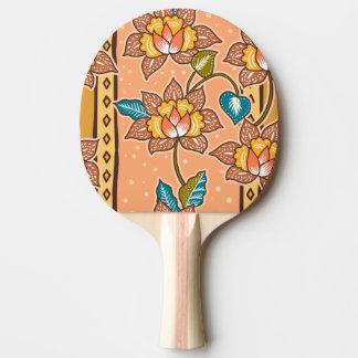 Golden Hand drawn decorative floral batik pattern Ping-Pong Paddle