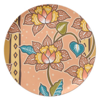 Golden Hand drawn decorative floral batik pattern Plate