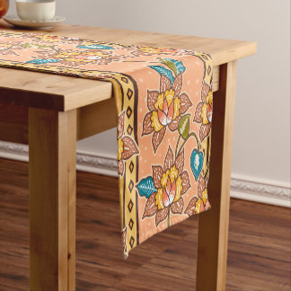 Golden Hand drawn decorative floral batik pattern Short Table Runner