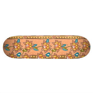 Golden Hand drawn decorative floral batik pattern Skateboard Decks