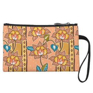 Golden Hand drawn decorative floral batik pattern Wristlet