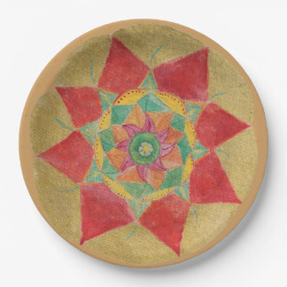 Golden Hand Painted Mandala Paper Plates 9 in 9 Inch Paper Plate