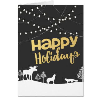 Golden Happy Christmas holidays mini lights Card