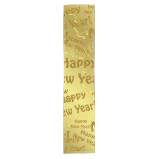 golden happy new years short table runner