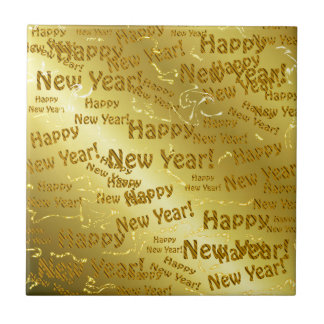 golden happy new years text ceramic tile