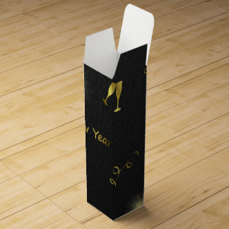 golden happy new years text wine bottle boxes
