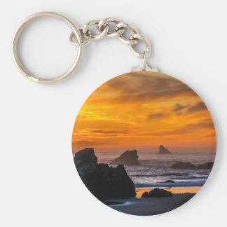 Golden Harris Beach Sunset - Oregon Basic Round Button Keychain