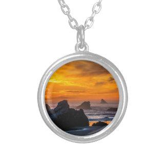 Golden Harris Beach Sunset - Oregon Silver Plated Necklace