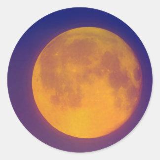 Golden Harvest Moon Round Stickers