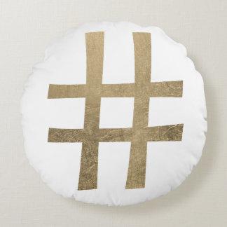 Golden Hashtag Round Pillow