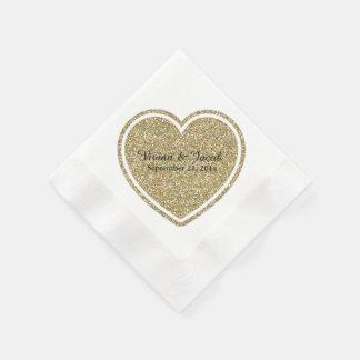 Golden Heart Custom Wedding Napkin Paper Napkin