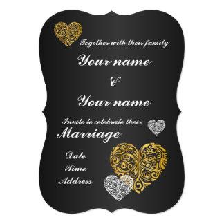 Golden Heart Design Wedding 5x7 Invitation Bracket