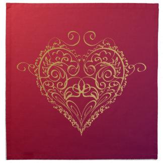 Golden Heart Illustration Napkin