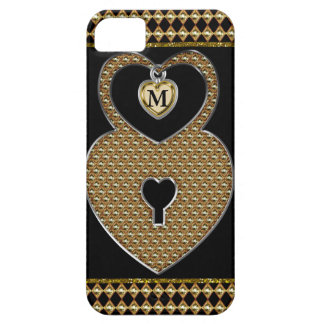 Golden Heart Lock With Charm Monogram iPhone 5 Case