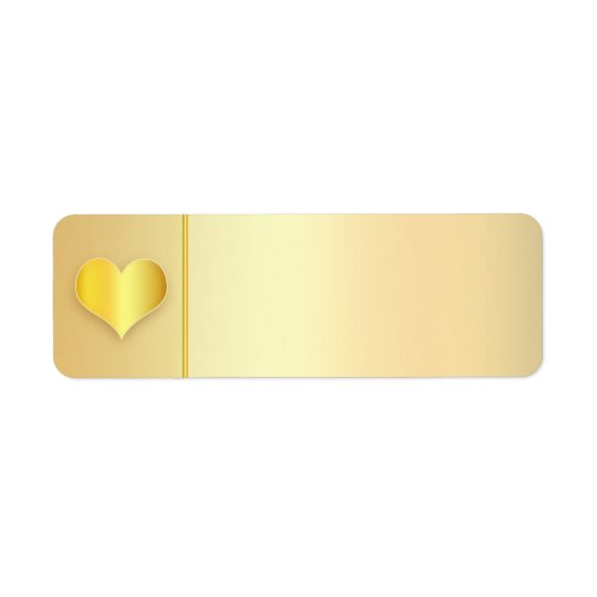 golden heart modern wedding address labels