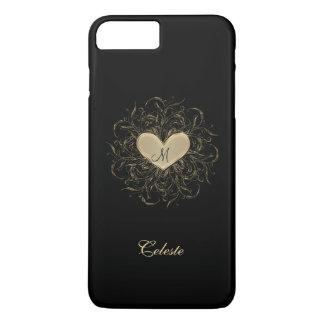 Golden Heart Monogram iPhone 7 Plus Case