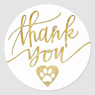 golden heart pet paw thank you round sticker