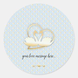 Golden Heart Swans, Gentle Love Classic Round Sticker