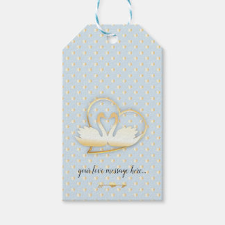 Golden Heart Swans, Gentle Love Gift Tags