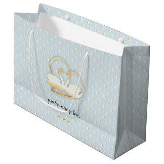 Golden Heart Swans, Gentle Love Large Gift Bag