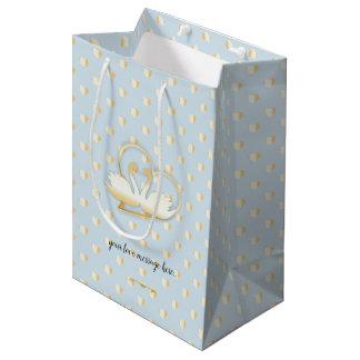 Golden Heart Swans, Gentle Love Medium Gift Bag