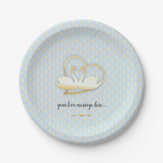 Golden Heart Swans, Gentle Love Paper Plate