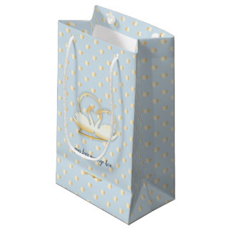 Golden Heart Swans, Gentle Love Small Gift Bag