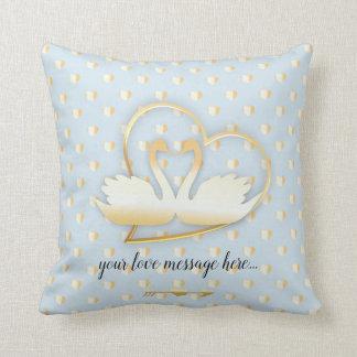 Golden Heart Swans, Gentle Love Throw Pillow