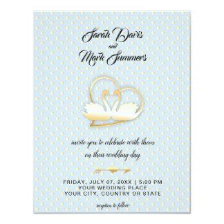 Golden Heart Swans, Gentle Love Wedding Card